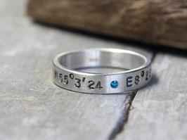 925 Silberring Koordinaten mit Diamant
