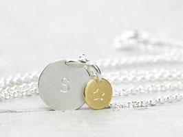 925 Silberkette mit  Anhänger Buchstabe gold/silber