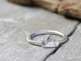Stapelring No. 056 aus 925 Silber AHOI! mit Diamant