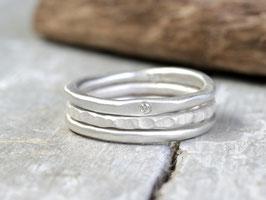 Ringset No. 1: Elegant mit Diamant aus 925 Silber, dreiteilig