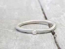 925 Silberring Stapelring mit Perle, Perlenring