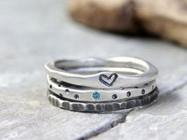 Ringset No. 8: mit meerblauen Diamant aus 925 Silber, dreiteilig
