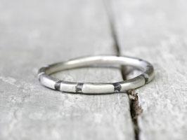925 Silberring Stapelring mit geschwärzten Streifen