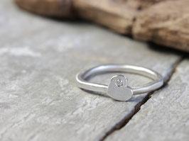 Stapelring No. 055 aus 925 Silber mit Diamant im Herzen
