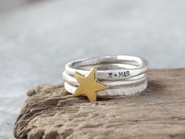 Dreiteiliges Ringset X-MAS mit Stern aus 925 Silber