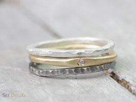 Dreiteiliges Ring Set DeluXe mit Diamant, aus 750 Gelbgold, 999 Feinsilber und 925 Silber