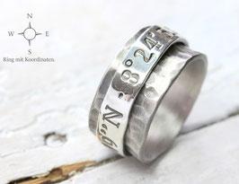Drehring Koordinaten 925 Silber, Vintage-Look, personalisiert