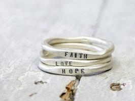 925 Silberringe Set Faith Love Hope