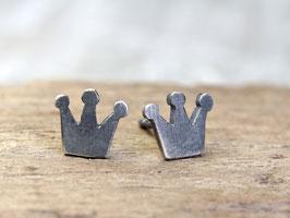 Ohrstecker Krönchen aus 925 Silber, geschwärzt