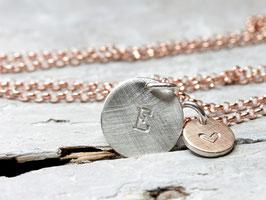 925 Silberkette, rosèvergoldet mit  Anhänger Buchstabe roségold/silber, personalisiert