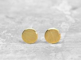 Punkt Ohrstecker 5mm 925 Silber, 24k Feingold