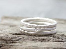 Ringset No.1: Elegant mit Diamant aus 925 Silber, dreiteilig