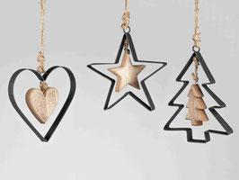 Anhänger schwarz/gold 501745 - Weihnachten