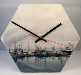 Wanduhr Hexagon (Hafen)