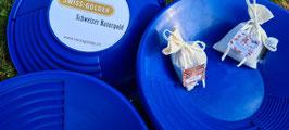 Geschenk-Set: Goldsäckli, Goldwaschpfanne und Sammeldose