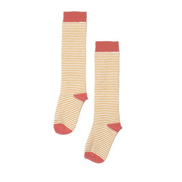 Knee sock striped coral/marigold