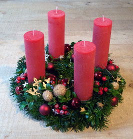 Adventskranz Rot-Gold