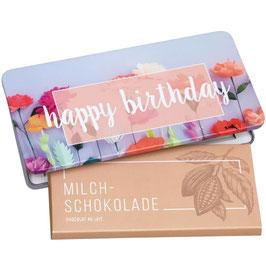 Milchschokolade von Munz in Geschenkdose Happy Birthday