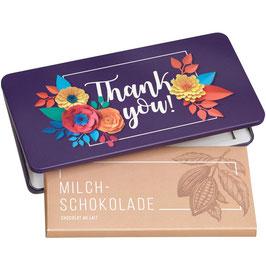 Milchschokolade von Munz in Geschenkdose Thank You