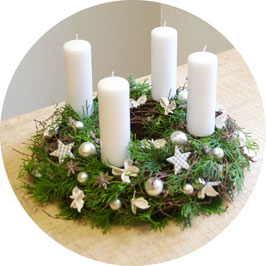 Adventskranz us de Box: Weiss Standard