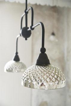 Lampada a sospensione vetro e metallo a due luci