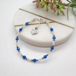 Armband Süßwasserzuchtperlen weiß 2 - 3 mm mit blauem Achat 3mm