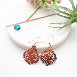 Ohrringe Metalltropfen rotgolden