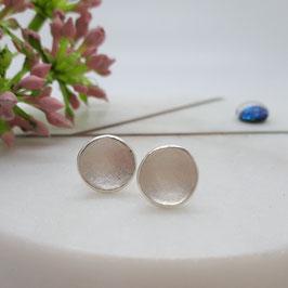 Ohrstecker aus Silber 925, rund, konkav, innen matt, Rand poliert