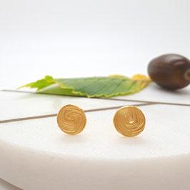 Ohrstecker aus Silber 925 mit Spiral-Prägung, vergoldet