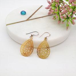 Ohrringe kleine Metalltropfen gold