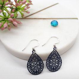 Ohrringe kleine Metalltropfen schwarz