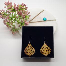 Ohrringe Metalltropfen golden