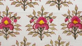 Tissu moghol blanc aux fleurs roses
