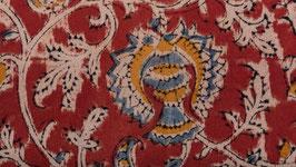 Kalamkari aux fleurs ocre et pastel