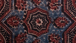 Ajrak traditionnel rouge et indigo