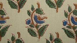 Tige florale ocre et bleue