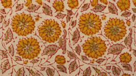 Rondeau aux fleurs étoilées ocre jaune