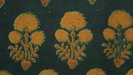 Ajrak aux fleurs ocre orangé