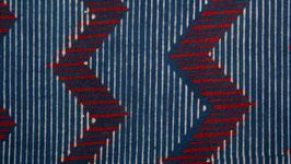 Zigzags rouges et rayures bleu marine