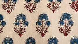 Ajrak floral rouge et indigo