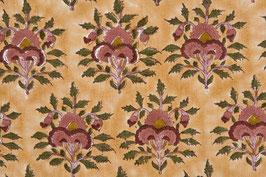 Tissu moghol orange à fleurs (413)