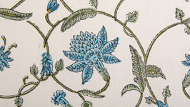 Arabesque florale bleue et sable