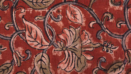 Kalamkari aux feuilles roses et vertes