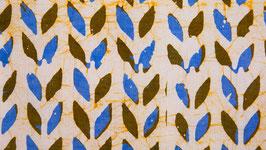Batik aux pétales bleus et ocre