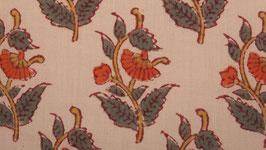 Brin floral orangé et vert kaki