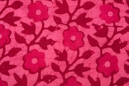 Batik floral framboise