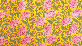 Fleurs éventails sur un jaune citron