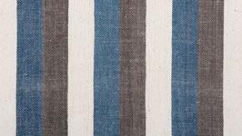 Tissu bio aux bandes brunes bleues (1)