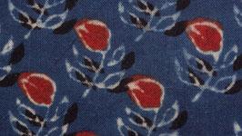 Petite fleur rouge aux feuilles indigo