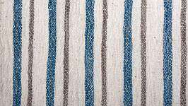 Tissu bio aux rayures brunes et bleues